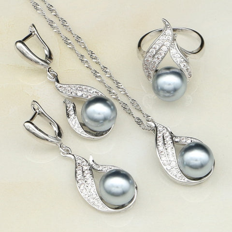 925 Sterling Silver With Gray Imitation Pearl And Clear CZ Jewelry Set