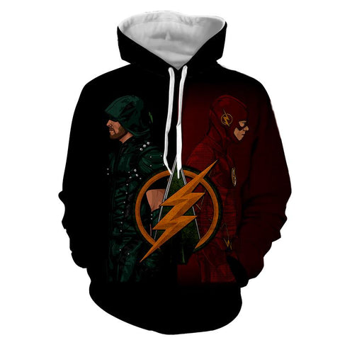 Green Arrow and The Flash Hoodie - Order Larger Size - Amazing Steals N Deals