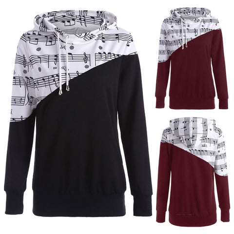 Musical Note Digital Block Print Hoodie - Order Larger Size