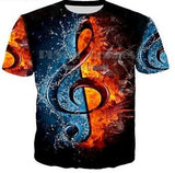 Music Note Or Guitar 3d Printed T Shirt - Order larger Size