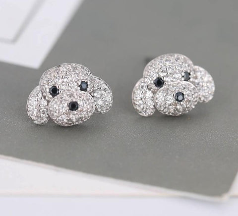925 Sterling Silver Rhinestone Dog Stud Earrings