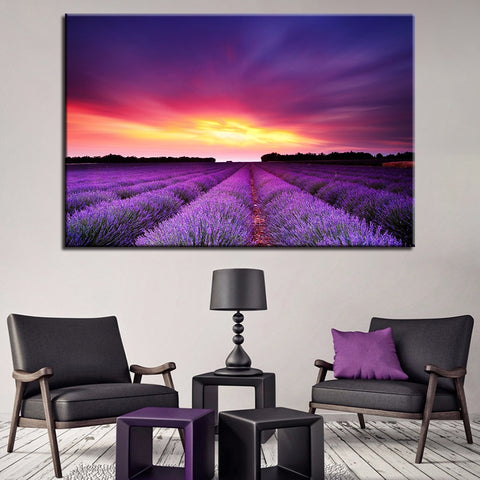 Dusk Over A Field Of Lavender Canvas Print Wall Art - Amazing Steals N Deals