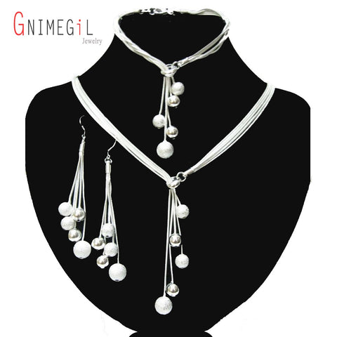 Dangling Silver Ball Fashion Jewelry Set - Amazing Steals N Deals