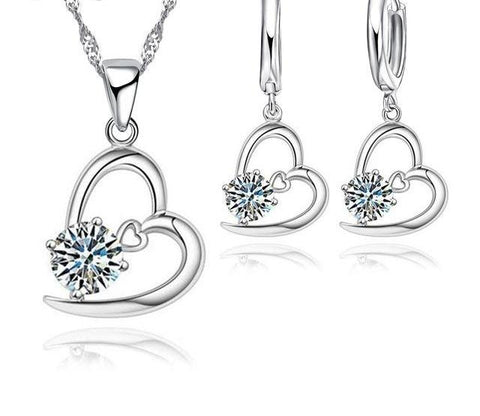 925 Sterling Silver Heart Pendant And CZ Jewelry Set