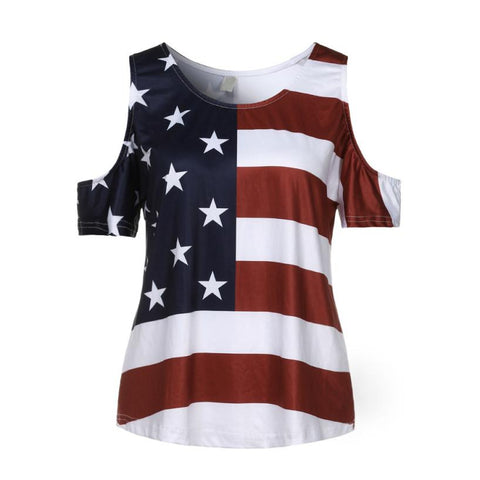 American Flag Cold Shoulder Shirt