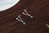 925 Sterling Silver Star Stud Dangle Earrings