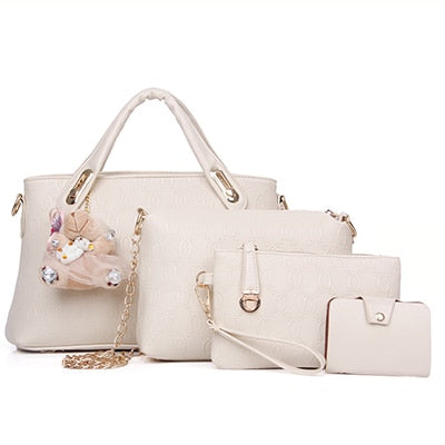 Faux Leather 4 Pcs/Set Large Capacity Handbags