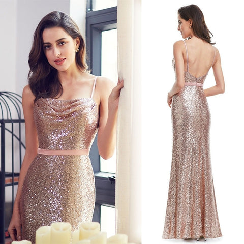 Sleeveless Sequined Floor Length Dress - Amazing Steals N Deals