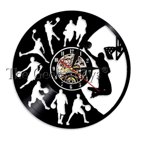 Basketball Vinyl Record  Wall Clock In 4 Designs