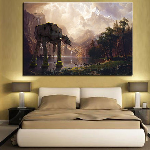 Star Wars: Injured AT-AT On The Edge Of The Lake Canvas Print Wall Art