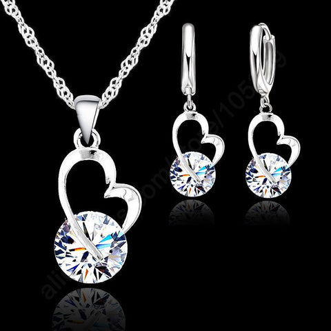 925 Sterling Silver And Clear CZ Heart Pendant Necklace And Earring Set