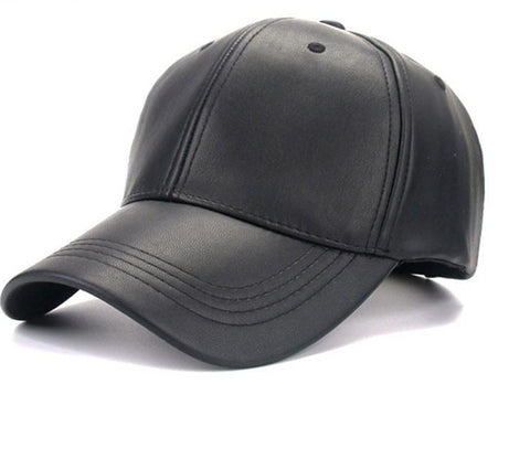 Unisex Solid Faux Leather Baseball Cap