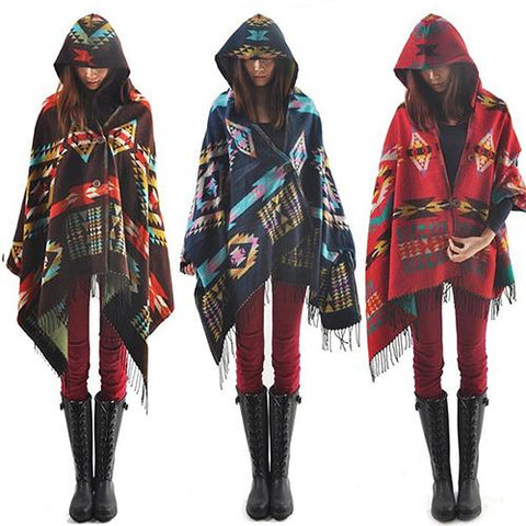 Bohemian Wool Blend Hooded Blanket Poncho - Amazing Steals N Deals