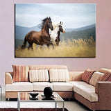Horses In The Meadow Canvas Print Wall Art - Amazing Steals N Deals