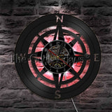 Compass Vinyl Record Wall Clock In 2 Designs