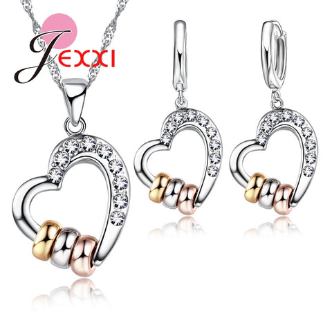 925 Sterling Silver Hollow Heart Pendant And CZ Crystal Jewelry Set