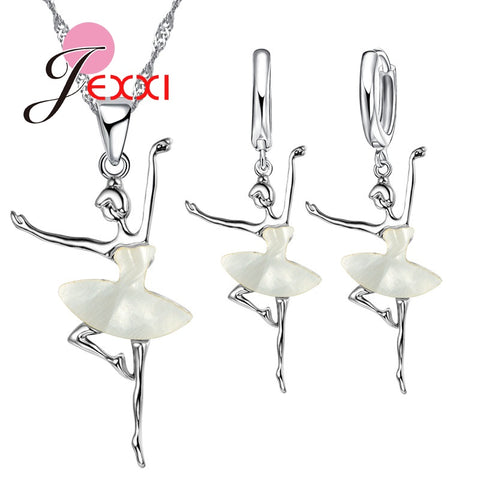925 Sterling Silver Ballerina Jewelry Set