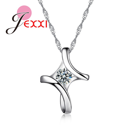 925 Sterling Silver Cross Necklace With CZ Crystal
