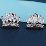 Austrian Crystal Crown Shaped Stud Earrings
