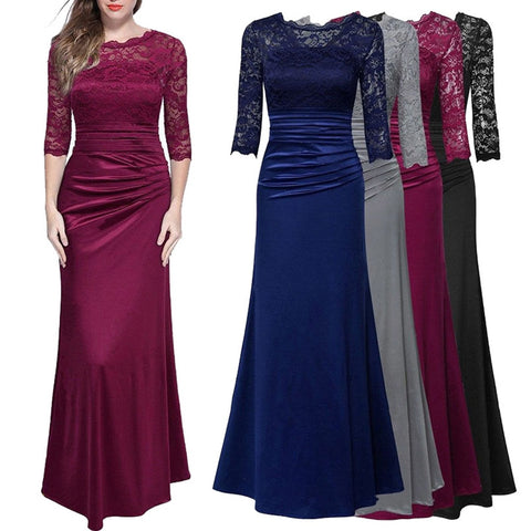 Lace Splice Slim Solid Color Formal Gown