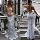 Sequin V-Neck Floor Length Gown - Amazing Steals N Deals