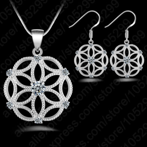 925 Sterling Silver Celtic Design And CZ Jewelry Set
