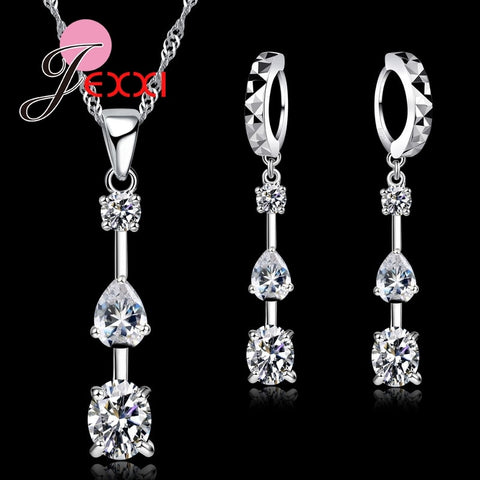 925 Sterling Silver And CZ Pendant Jewelry Set