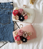 Flower And Imitation Pearl Clutch Evening Bag - Amazing Steals N Deals