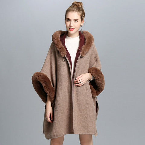 BOHO Imitation Fur Collar Hooded Shawl - Amazing Steals N Deals
