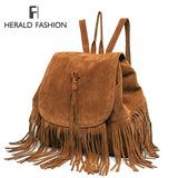 Faux Suede Rucksack With Tassels - Amazing Steals N Deals