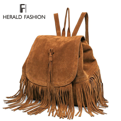 Faux Suede Rucksack With Tassels