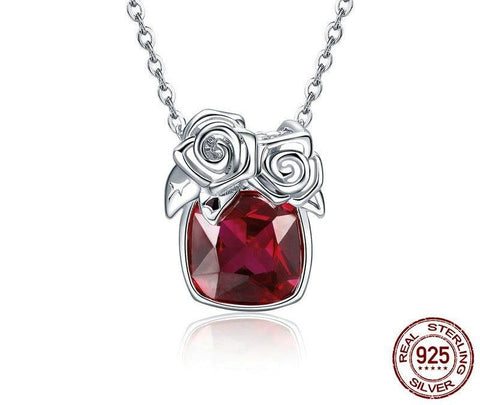 925 Sterling Silver With Red CZ And Rose Pendant Necklace
