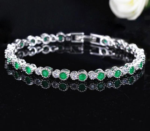 925 Sterling Silver Round Crown Shape Cubic Zirconia Tennis Bracelet