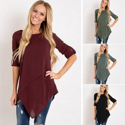 Asymmetrical Solid Color Tunic - Amazing Steals N Deals