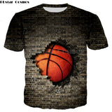 Basketball Breaking A Wall T-Shirt - Order Larger Size