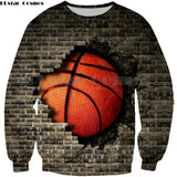 Basketball Breaking A Wall Sweatshirt - Order Larger Size