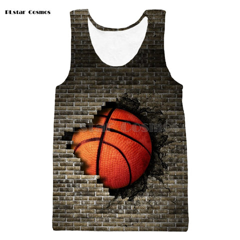 Basketball Breaking A Wall Tank Shirt - Order Larger Size
