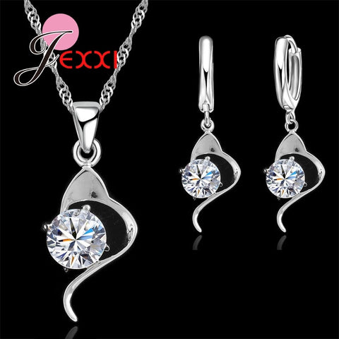 925 Sterling Silver Cubic Zircon Pendant Necklace & Earrings Set