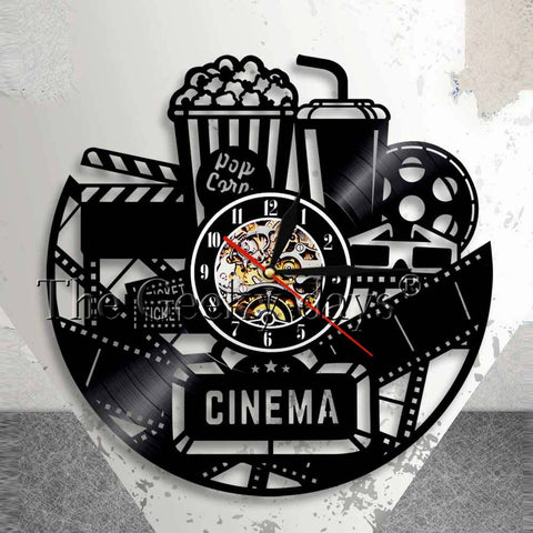 Movie Theater Themed Vinyl Record Wall Clock In 3 Designs
