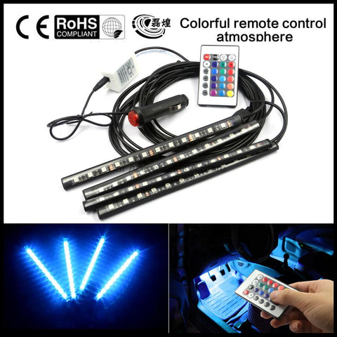 Car Interior 7 Color Flexible RGB LED Strip Light With Remote