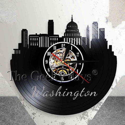 Washington DC Vinyl Record Wall Clock