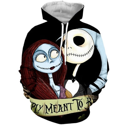 Jack And Sally Meant To Be 3D Printed Hoodie