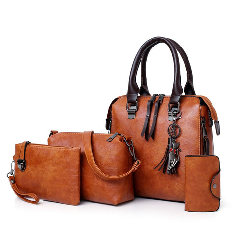 Faux Leather 4 Pcs Handbag Set