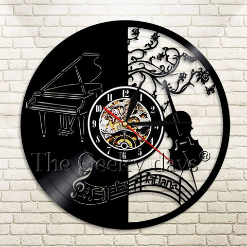 Musical Instruments Vinyl Record Wall Clock