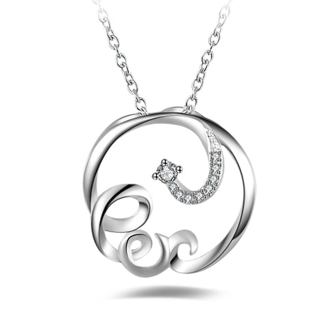 925 Sterling Silver Ribbion Pendant Necklace With Inlay Cubic Zirconia