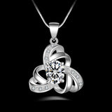 925 Sterling Silver And Clear CZ Pendant Necklace