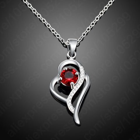925 Sterling Silver CZ Heart Shaped Pendant Necklace