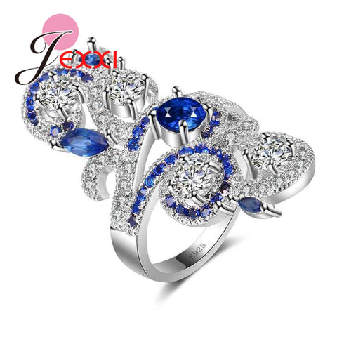 925 Sterling Silver Exaggerate Flower Ring With Blue & Clear CZ