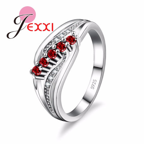 925 Sterling Silver Geometric Twist Ring With Colored & Clear CZ