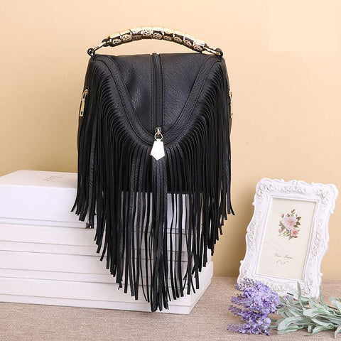 Fringe Faux Leather Shoulder Handbag